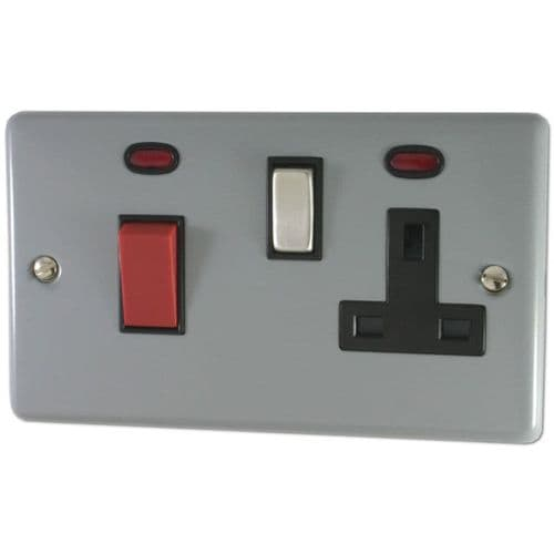 G&H CLG329 Standard Plate Light Grey 45 Amp DP Cooker Switch & 13A Switched Socket